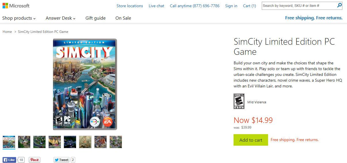 SimCityMicrosoftSale